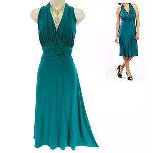 Size 12▪️SEXY GREEN RUCHED WAIST MARILYN DRESS